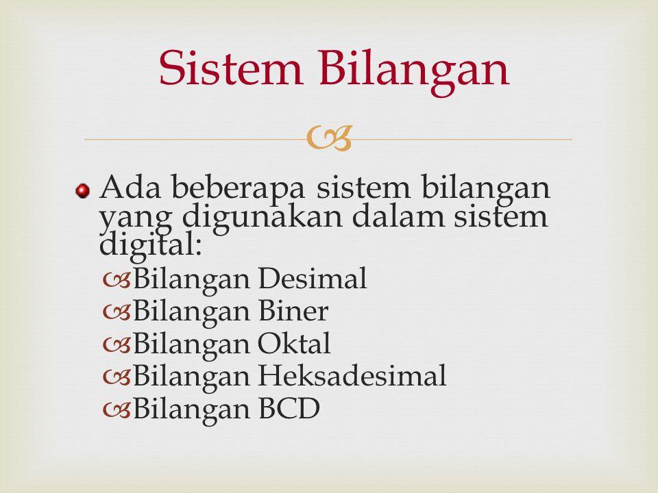  Ada beberapa sistem bilangan yang digunakan dalam sistem digital:  Bilangan Desimal  Bilangan Biner  Bilangan Oktal  Bilangan Heksadesimal  Bil