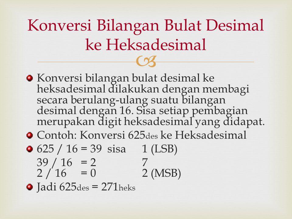  Konversi bilangan bulat desimal ke heksadesimal dilakukan dengan membagi secara berulang-ulang suatu bilangan desimal dengan 16. Sisa setiap pembagi