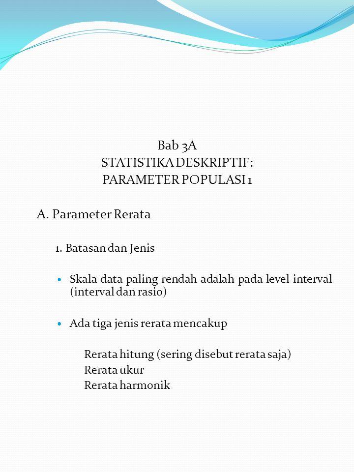 Bab 3A STATISTIKA DESKRIPTIF: PARAMETER POPULASI 1 A.