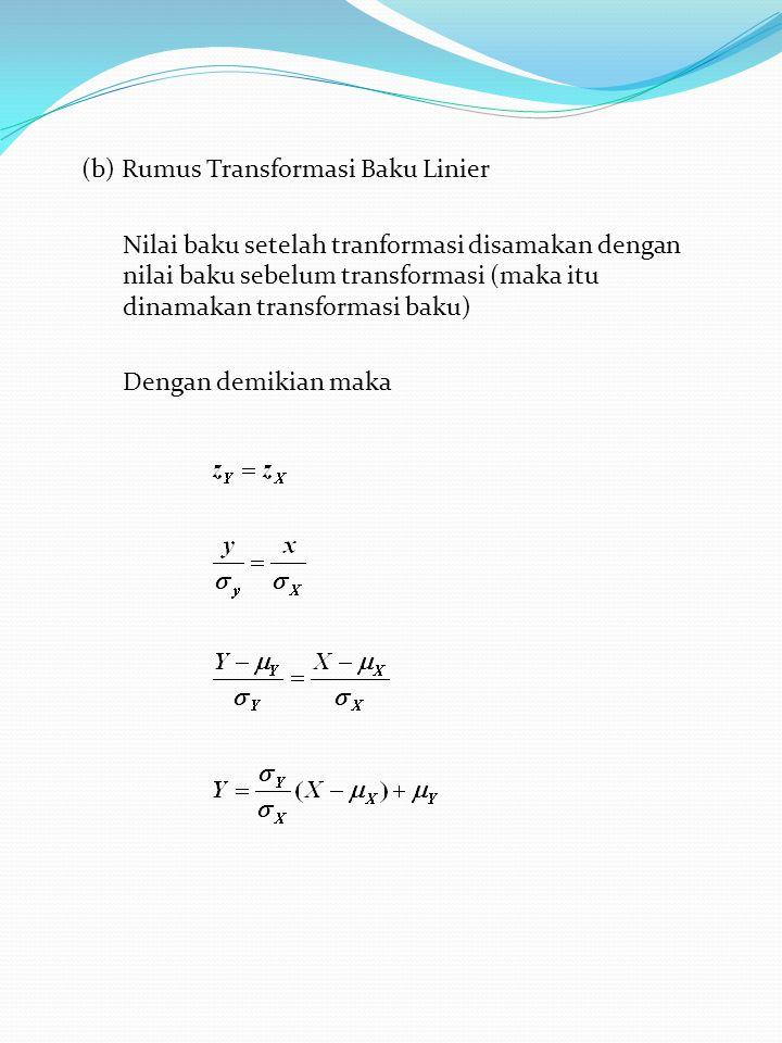 (b) Rumus Transformasi Baku Linier Nilai baku setelah tranformasi disamakan dengan nilai baku sebelum transformasi (maka itu dinamakan transformasi baku) Dengan demikian maka