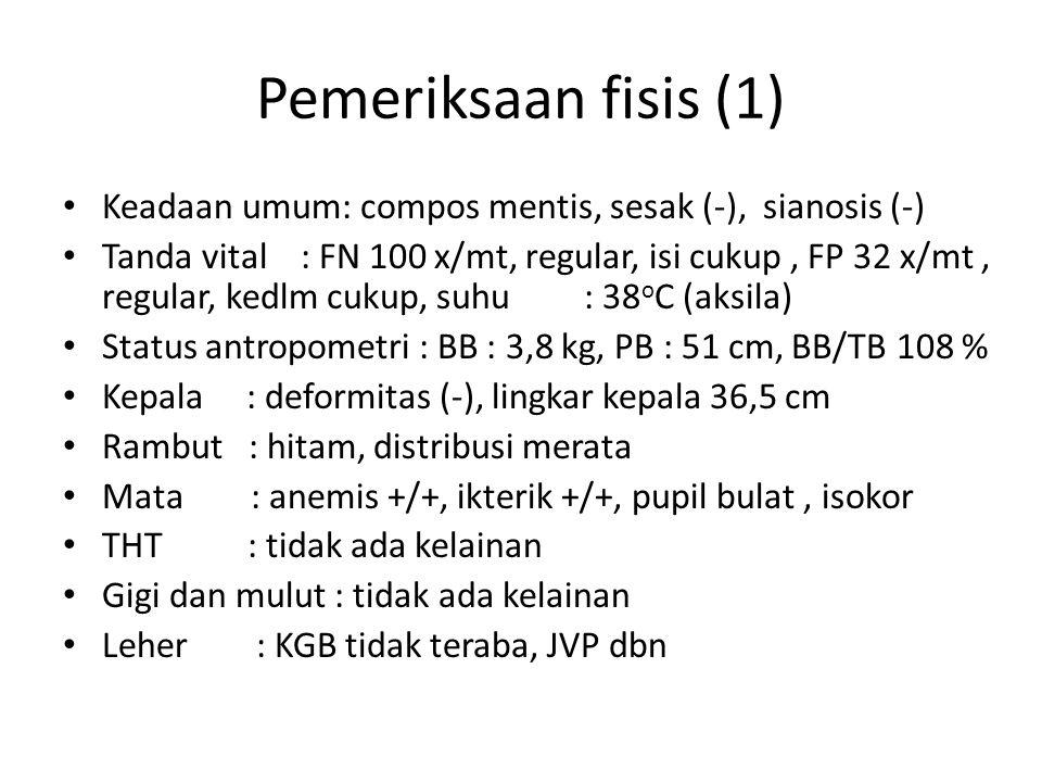 Pemeriksaan fisis (1) Keadaan umum: compos mentis, sesak (-), sianosis (-) Tanda vital : FN 100 x/mt, regular, isi cukup, FP 32 x/mt, regular, kedlm cukup, suhu: 38 o C (aksila) Status antropometri : BB : 3,8 kg, PB : 51 cm, BB/TB108 % Kepala : deformitas (-), lingkar kepala 36,5 cm Rambut : hitam, distribusi merata Mata : anemis +/+, ikterik +/+, pupil bulat, isokor THT : tidak ada kelainan Gigi dan mulut : tidak ada kelainan Leher : KGB tidak teraba, JVP dbn