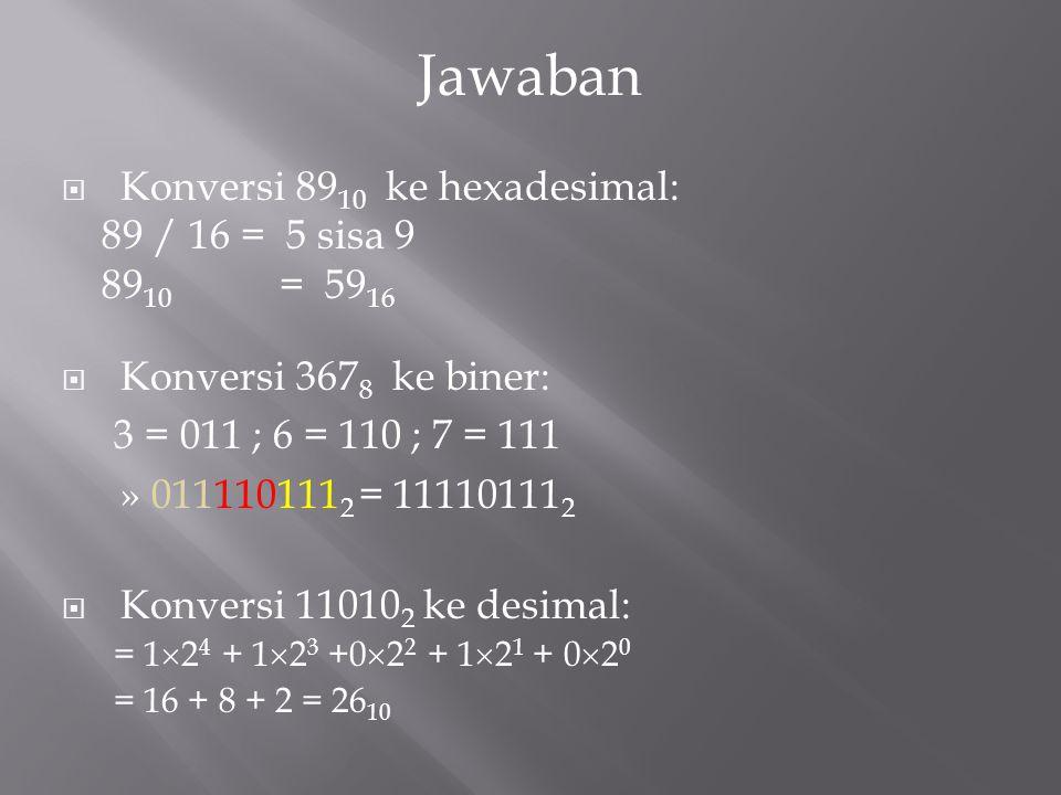  Konversi 89 10 ke hexadesimal: 89 / 16 = 5 sisa 9 89 10 = 59 16  Konversi 367 8 ke biner: 3 = 011 ; 6 = 110 ; 7 = 111 » 011110111 2 = 11110111 2 