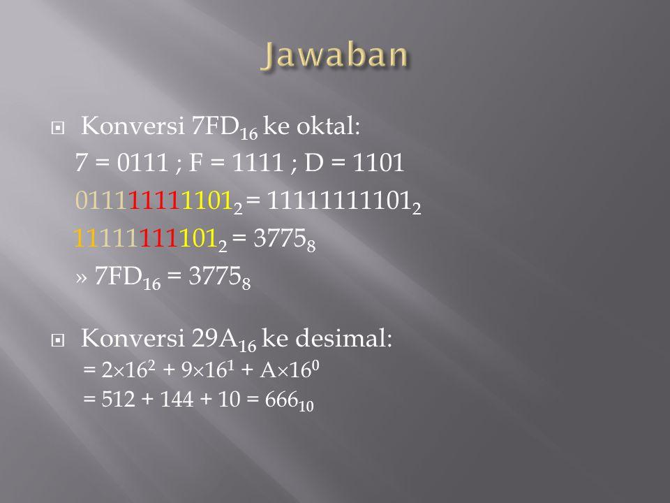  Konversi 7FD 16 ke oktal: 7 = 0111 ; F = 1111 ; D = 1101 011111111101 2 = 11111111101 2 11111111101 2 = 3775 8 » 7FD 16 = 3775 8  Konversi 29A 16 k
