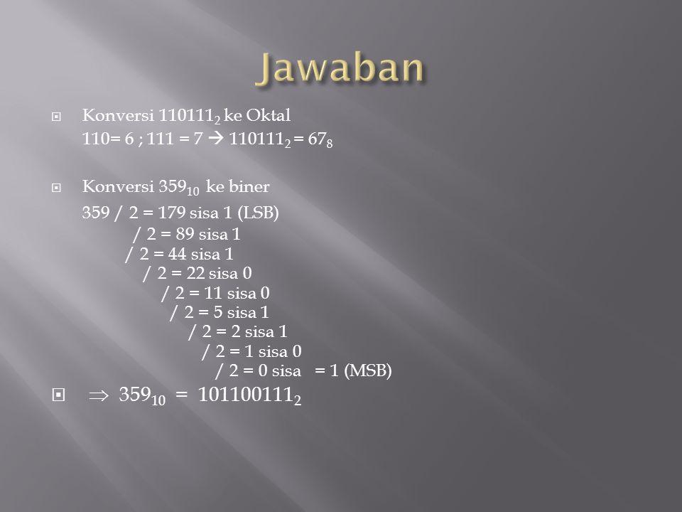  Konversi 110111 2 ke Oktal 110= 6 ; 111 = 7  110111 2 = 67 8  Konversi 359 10 ke biner 359 / 2 = 179 sisa 1 (LSB) / 2 = 89 sisa 1 / 2 = 44 sisa 1