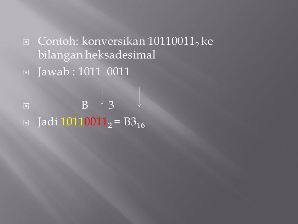  Contoh: konversikan 10110011 2 ke bilangan heksadesimal  Jawab : 1011 0011  B 3  Jadi 10110011 2 = B3 16