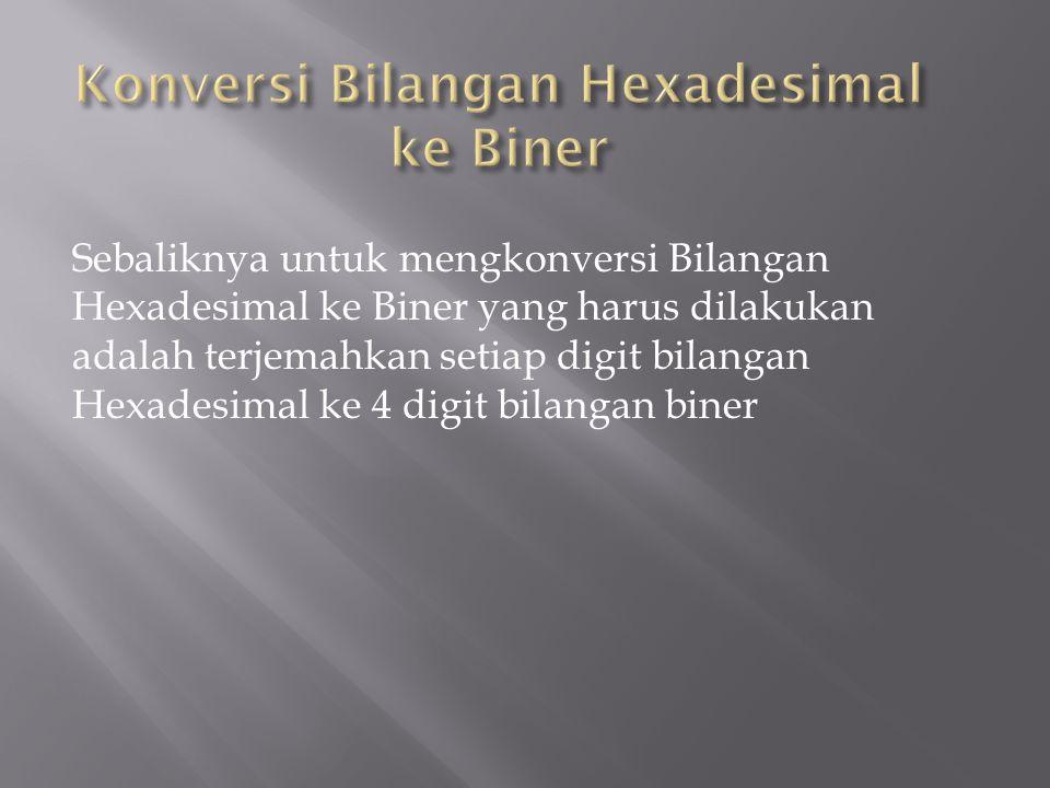 Sebaliknya untuk mengkonversi Bilangan Hexadesimal ke Biner yang harus dilakukan adalah terjemahkan setiap digit bilangan Hexadesimal ke 4 digit bilan