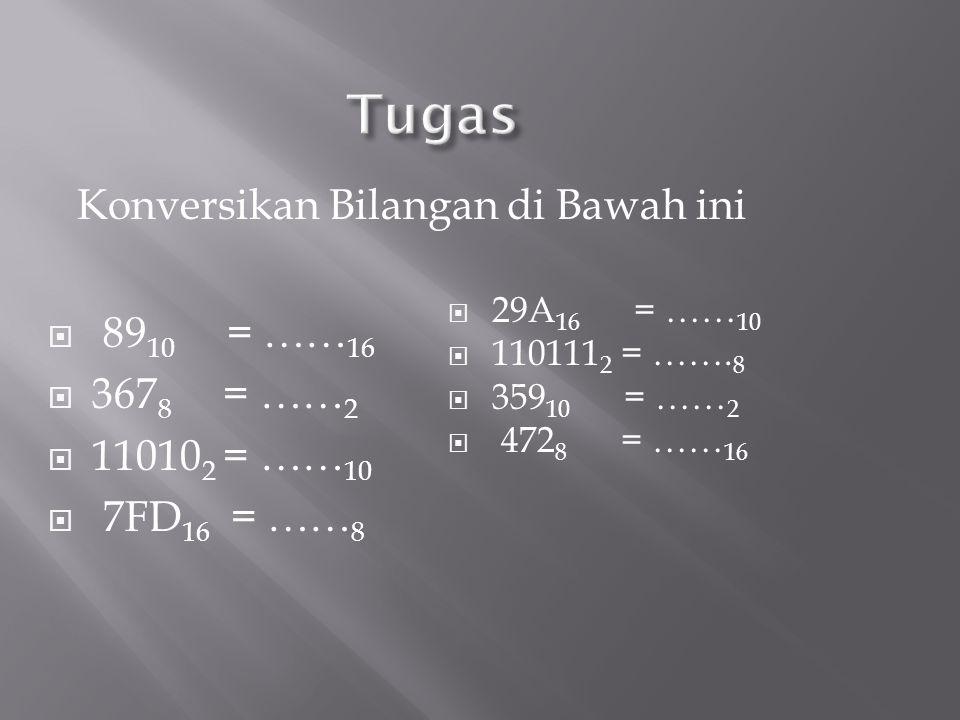 Konversikan Bilangan di Bawah ini  89 10 = …… 16  367 8 = …… 2  11010 2 = …… 10  7FD 16 = …… 8  29A 16 = …… 10  110111 2 = ……. 8  359 10 = …… 2
