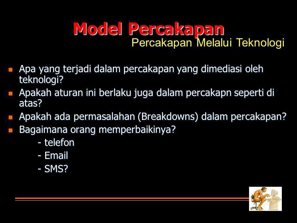 Model Percakapan Apa yang terjadi dalam percakapan yang dimediasi oleh teknologi.