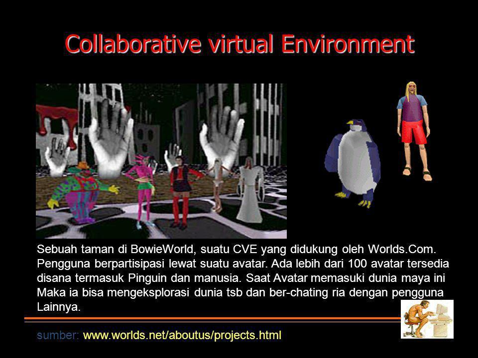 Collaborative virtual Environment Sebuah taman di BowieWorld, suatu CVE yang didukung oleh Worlds.Com.