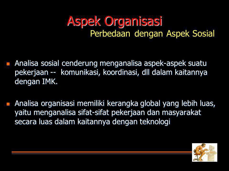 Analisa sosial cenderung menganalisa aspek-aspek suatu pekerjaan -- komunikasi, koordinasi, dll dalam kaitannya dengan IMK.