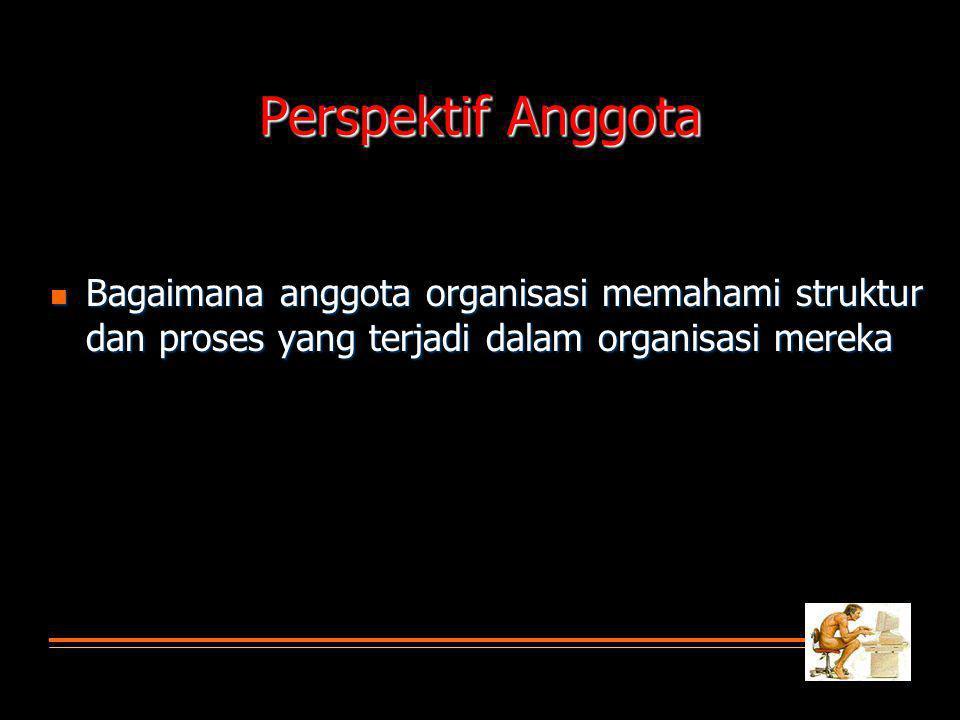 Perspektif Anggota Bagaimana anggota organisasi memahami struktur dan proses yang terjadi dalam organisasi mereka Bagaimana anggota organisasi memahami struktur dan proses yang terjadi dalam organisasi mereka