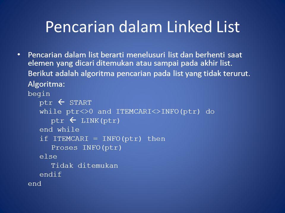 Pencarian dalam Linked List Pencarian dalam list berarti menelusuri list dan berhenti saat elemen yang dicari ditemukan atau sampai pada akhir list. B