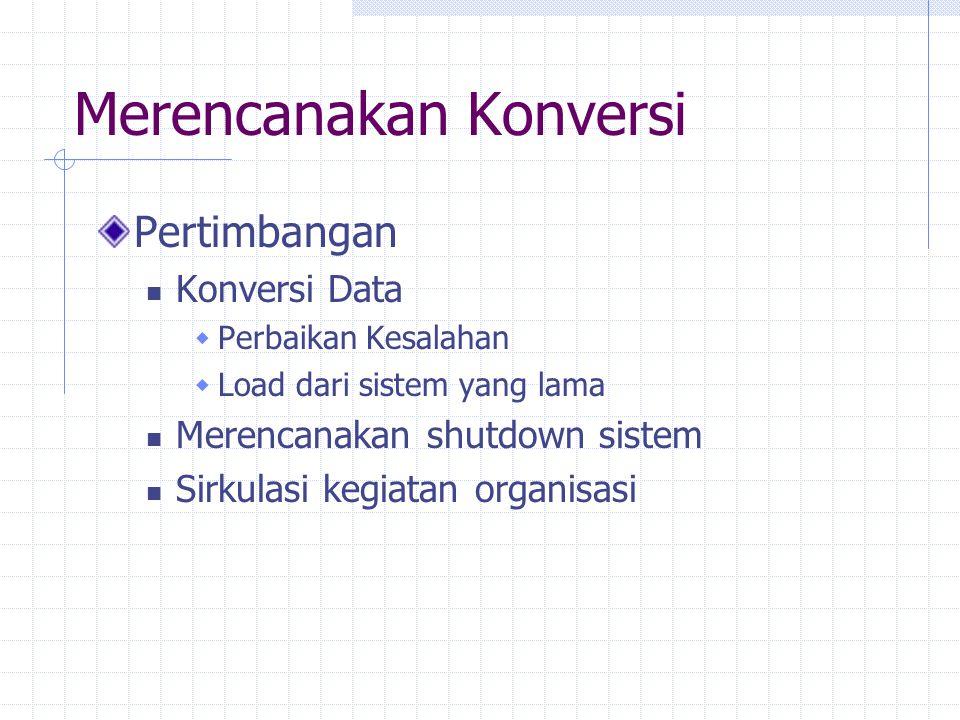 Merencanakan Konversi Pertimbangan Konversi Data  Perbaikan Kesalahan  Load dari sistem yang lama Merencanakan shutdown sistem Sirkulasi kegiatan organisasi