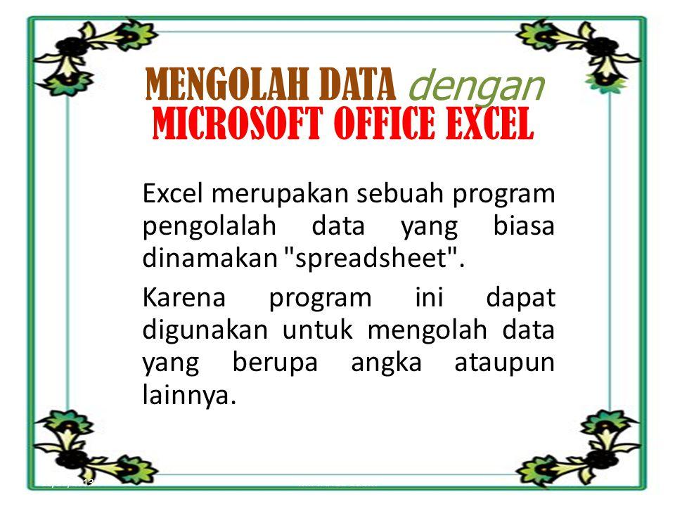 10/30/20133MIFTAHUL ULUM MENGOLAH DATA dengan MICROSOFT OFFICE EXCEL Excel merupakan sebuah program pengolalah data yang biasa dinamakan spreadsheet .