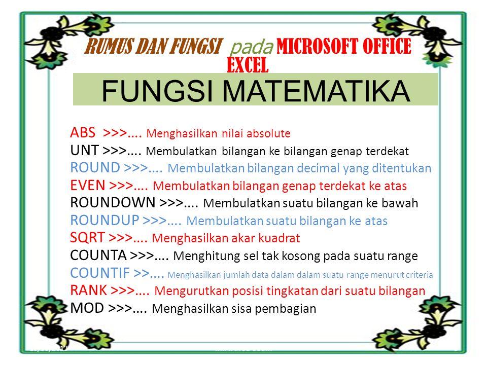10/30/20135MIFTAHUL ULUM RUMUS DAN FUNGSI pada MICROSOFT OFFICE EXCEL ABS >>>….
