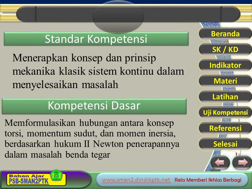 www.sman2.dindikptk.net www.sman2.dindikptk.net Rela Memberi Ikhlas Berbagi www.sman2.dindikptk.net www.sman2.dindikptk.net Rela Memberi Ikhlas Berbagi Standar Kompetensi Kompetensi Dasar Memformulasikan hubungan antara konsep torsi, momentum sudut, dan momen inersia, berdasarkan hukum II Newton penerapannya dalam masalah benda tegar Beranda SK / KD Indikator Materi Latihan Uji Kompetensi Referensi Selesai Menerapkan konsep dan prinsip mekanika klasik sistem kontinu dalam menyelesaikan masalah