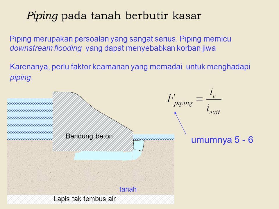 Piping pada tanah berbutir kasar Piping merupakan persoalan yang sangat serius. Piping memicu downstream flooding yang dapat menyebabkan korban jiwa B