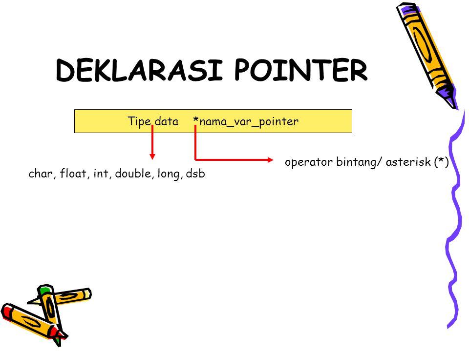 DEKLARASI POINTER Tipe data *nama_var_pointer char, float, int, double, long, dsb operator bintang/ asterisk (*)