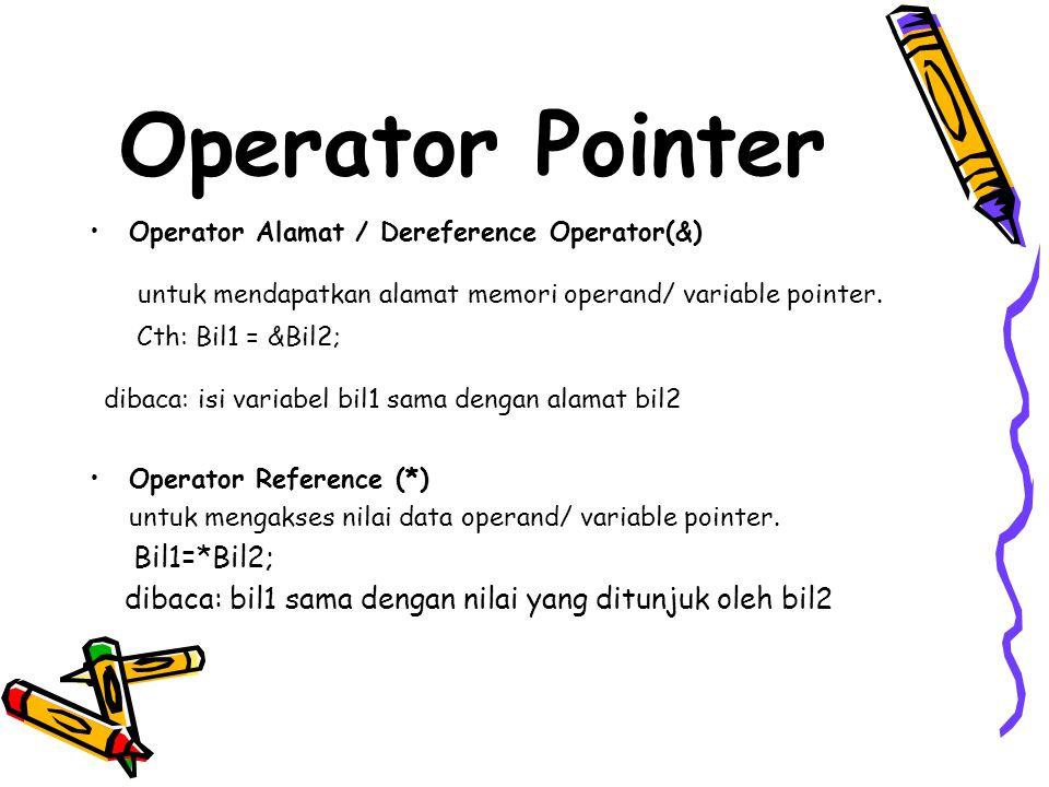 Operator Pointer Operator Alamat / Dereference Operator(&) untuk mendapatkan alamat memori operand/ variable pointer.