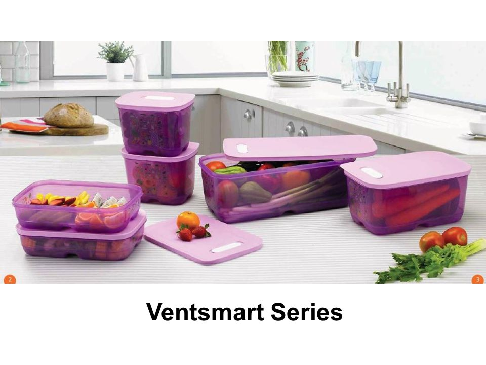 Penjelasan produk Ventsmart Ventsmart = generasi terbaru dari Fridgemart Fungsinya untuk menyimpan buah & sayuran di dalam kulkas Bagian seal dilengkapi dengan katub yang bisa digeser untuk mengatur aliran udara agar bisa masuk ke dalam Ventsmart