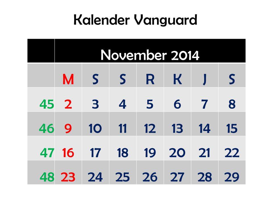 Kalender Vanguard November 2014 MSSRKJS 452345678 469101112131415 4716171819202122 4823242526272829