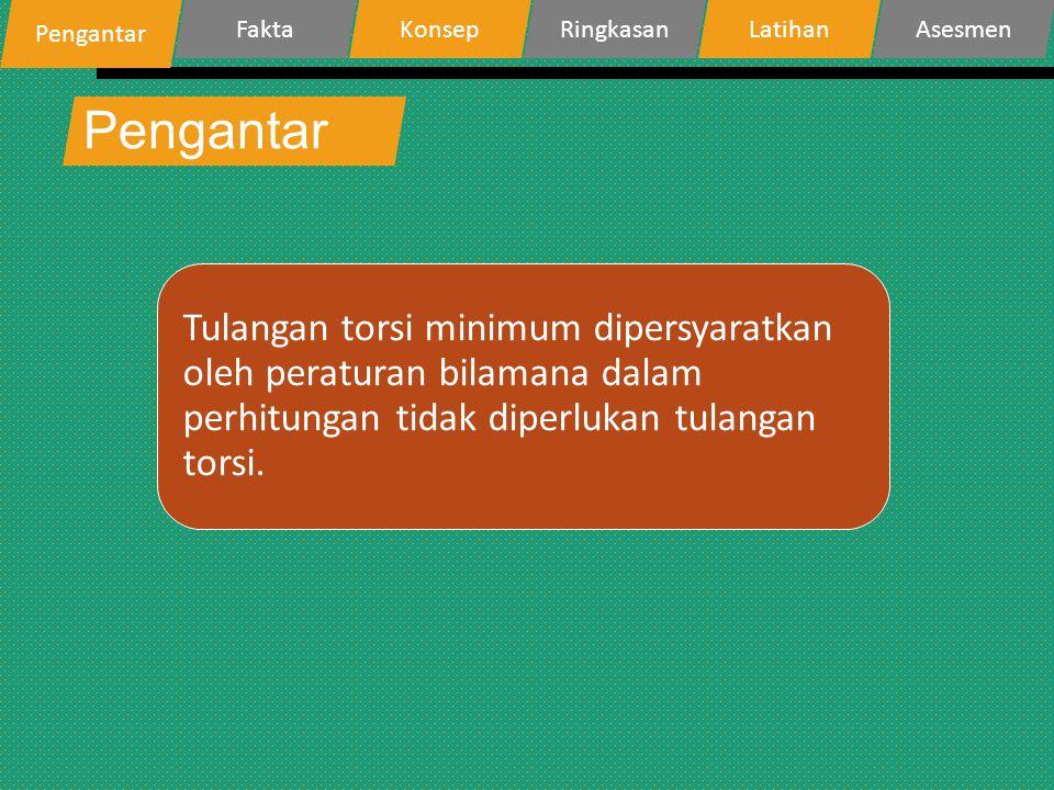 Pengantar Tulangan torsi minimum dipersyaratkan oleh peraturan bilamana dalam perhitungan tidak diperlukan tulangan torsi. Pengantar FaktaKonsepRingka