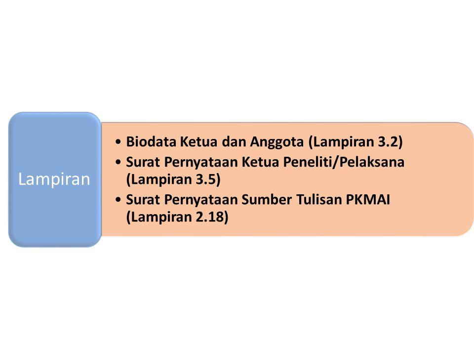 Biodata Ketua dan Anggota (Lampiran 3.2) Surat Pernyataan Ketua Peneliti/Pelaksana (Lampiran 3.5) Surat Pernyataan Sumber Tulisan PKMAI (Lampiran 2.18