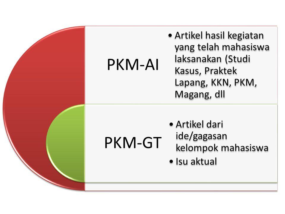 PKM-AI PKM-GT Artikel hasil kegiatan yang telah mahasiswa laksanakan (Studi Kasus, Praktek Lapang, KKN, PKM, Magang, dll Artikel dari ide/gagasan kelompok mahasiswa Isu aktual