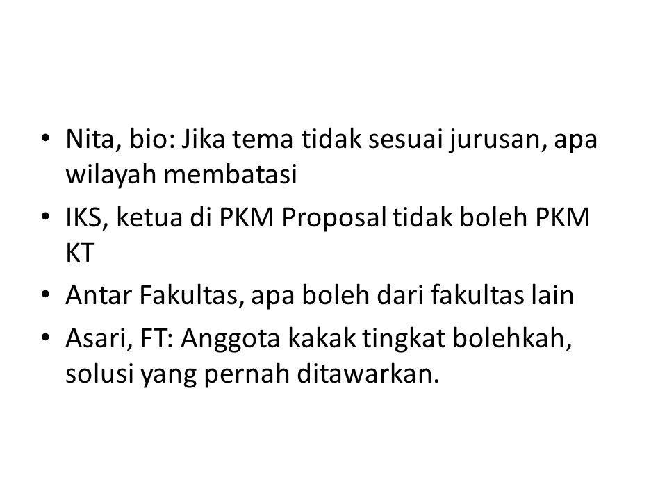 Nita, bio: Jika tema tidak sesuai jurusan, apa wilayah membatasi IKS, ketua di PKM Proposal tidak boleh PKM KT Antar Fakultas, apa boleh dari fakultas