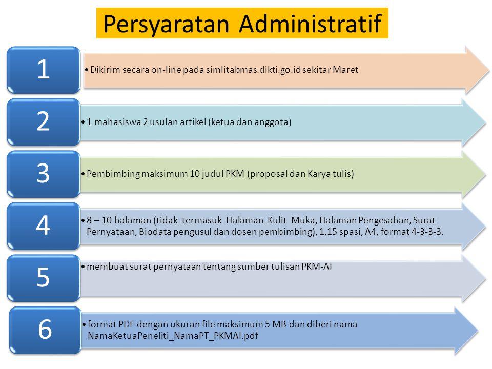 Persyaratan Administratif Dikirim secara on-line pada simlitabmas.dikti.go.id sekitar Maret 1 1 mahasiswa 2 usulan artikel (ketua dan anggota) 2 Pembi