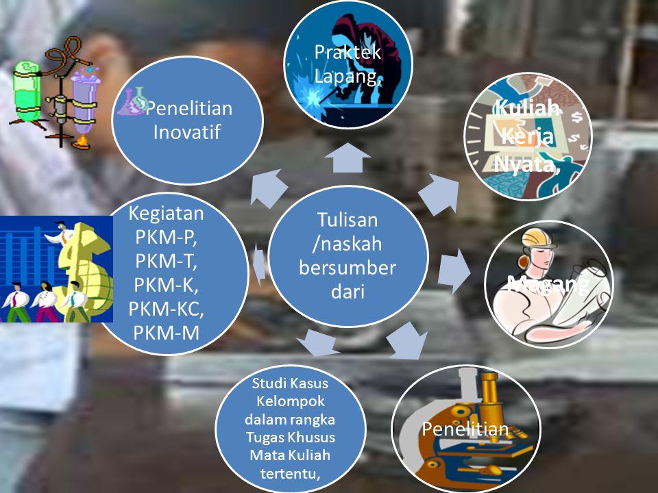 Tulisan /naskah bersumber dari Praktek Lapang, Kuliah Kerja Nyata, Magang Penelitian Studi Kasus Kelompok dalam rangka Tugas Khusus Mata Kuliah tertentu, Kegiatan PKM-P, PKM-T, PKM-K, PKM-KC, PKM-M Penelitian Inovatif
