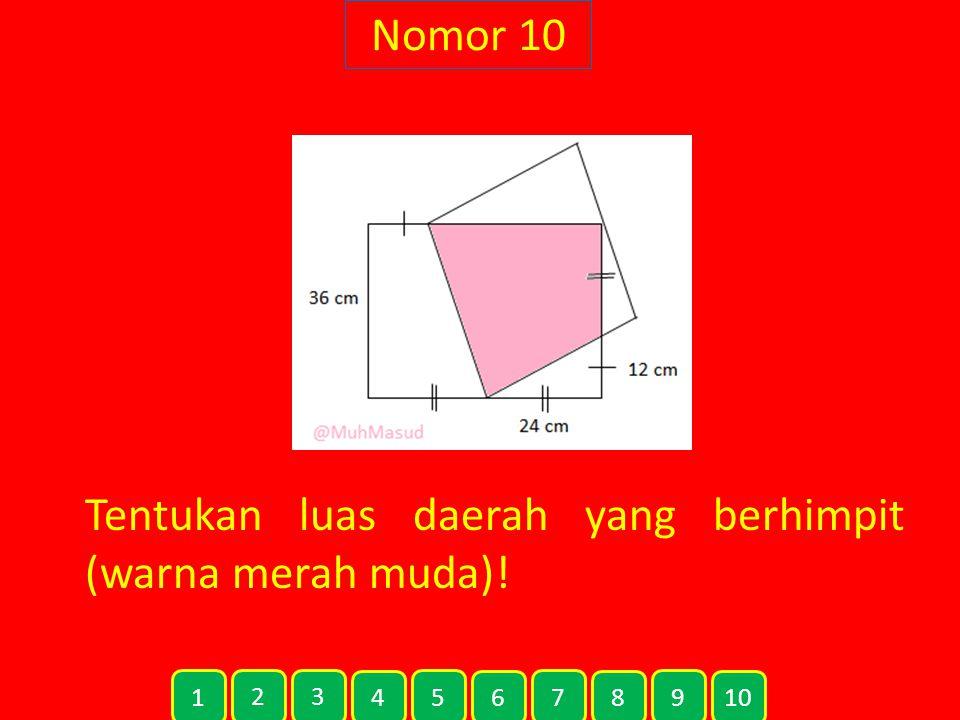 Nomor 10 Tentukan luas daerah yang berhimpit (warna merah muda)! 1 2 3 4 5 6 7 8 9 10