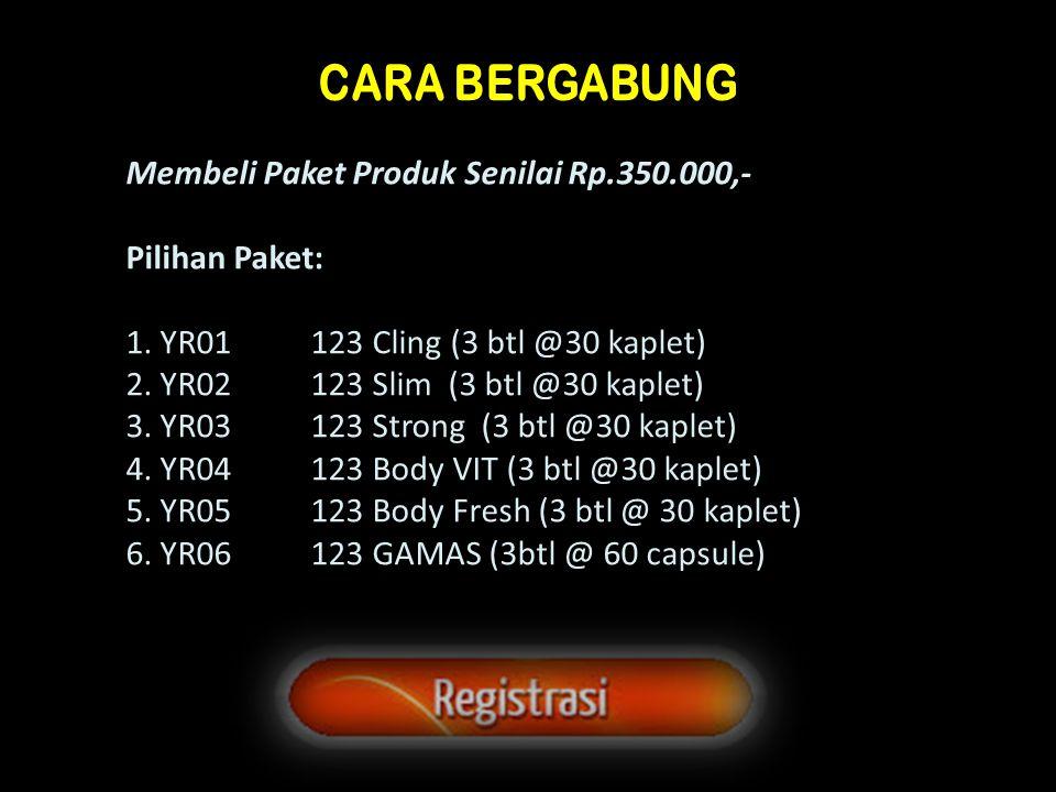 Membeli Paket Produk Senilai Rp.350.000,- Pilihan Paket: 1. YR01 123 Cling (3 btl @30 kaplet) 2. YR02 123 Slim (3 btl @30 kaplet) 3. YR03 123 Strong (