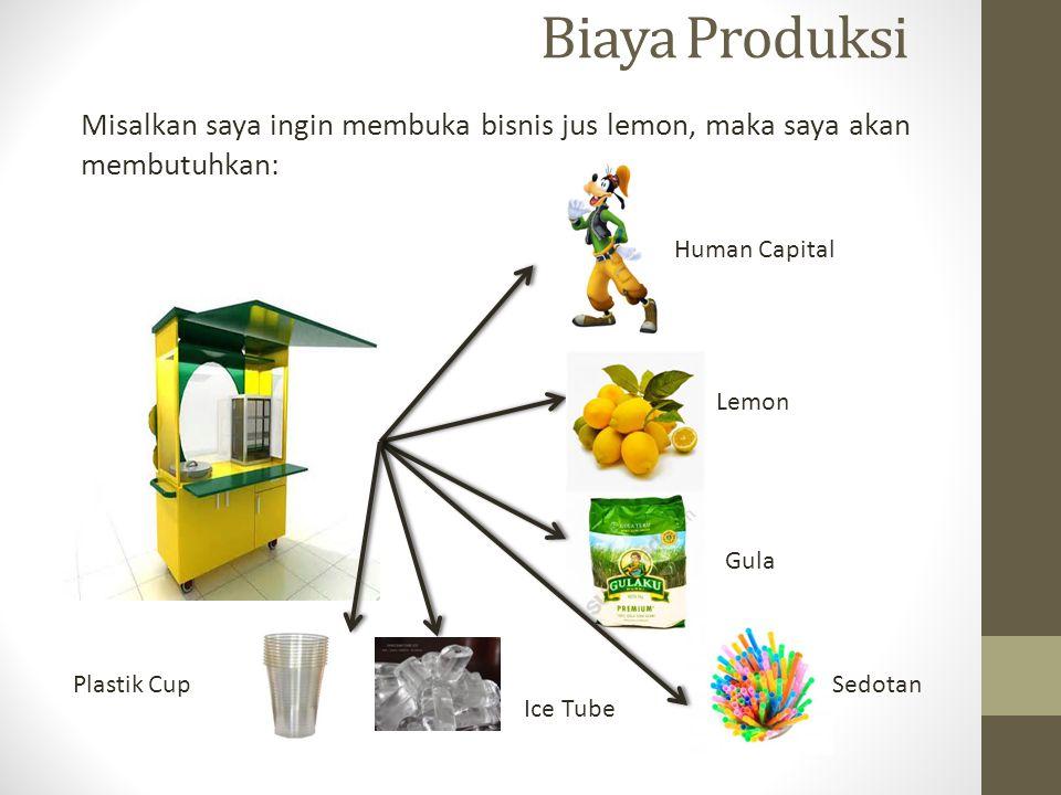 Biaya Produksi Misalkan saya ingin membuka bisnis jus lemon, maka saya akan membutuhkan: Human Capital Lemon Gula Plastik Cup Ice Tube Sedotan
