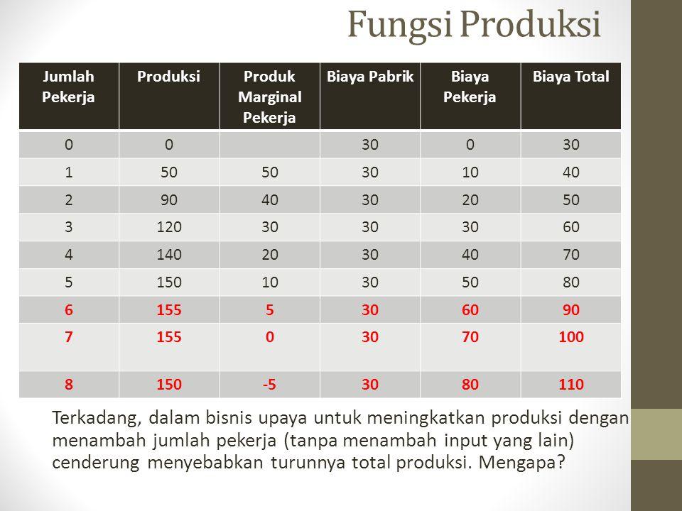 Fungsi Produksi Terkadang, dalam bisnis upaya untuk meningkatkan produksi dengan menambah jumlah pekerja (tanpa menambah input yang lain) cenderung me