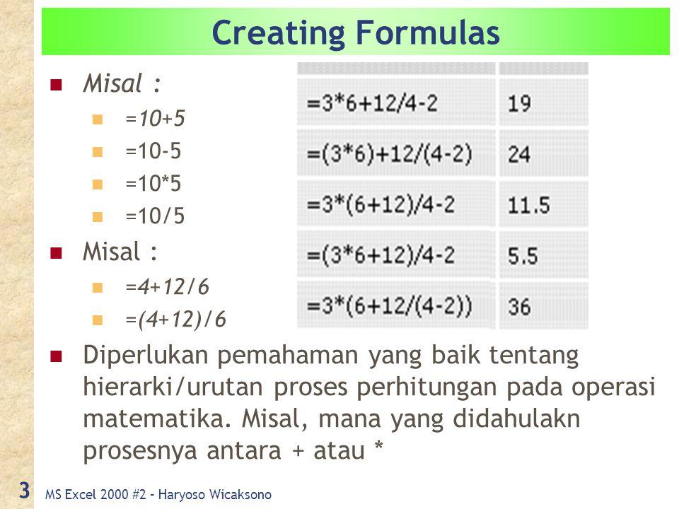 MS Excel 2000 #2 – Haryoso Wicaksono 3 Creating Formulas Misal : =10+5 =10-5 =10*5 =10/5 Misal : =4+12/6 =(4+12)/6 Diperlukan pemahaman yang baik tentang hierarki/urutan proses perhitungan pada operasi matematika.