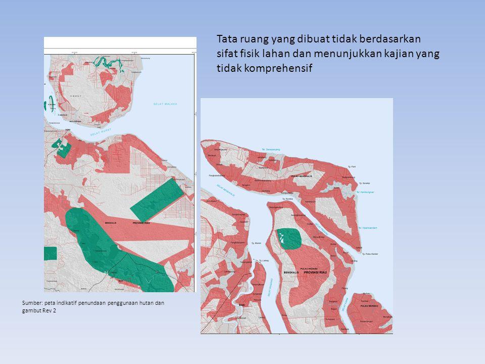 Tata ruang yang dibuat tidak berdasarkan sifat fisik lahan dan menunjukkan kajian yang tidak komprehensif Sumber: peta indikatif penundaan penggunaan hutan dan gambut Rev 2