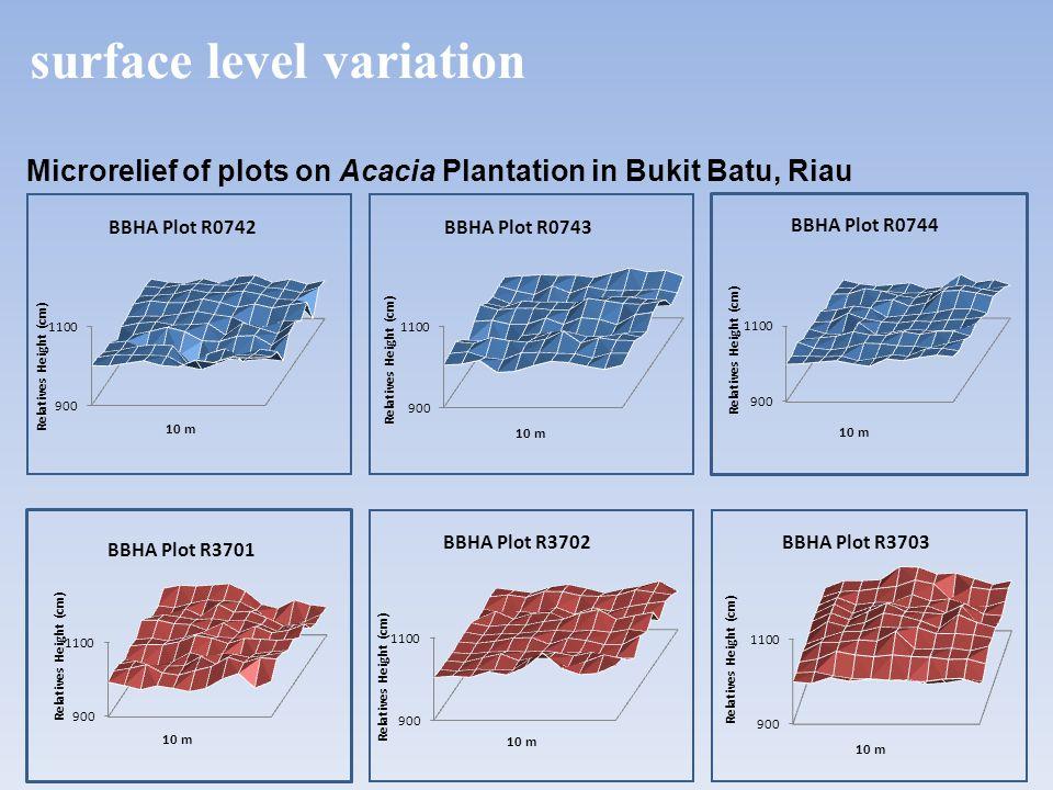 Microrelief of plots on Acacia Plantation in Bukit Batu, Riau surface level variation