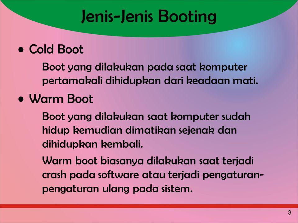 3 Jenis-Jenis Booting Cold Boot Boot yang dilakukan pada saat komputer pertamakali dihidupkan dari keadaan mati. Warm Boot Boot yang dilakukan saat ko