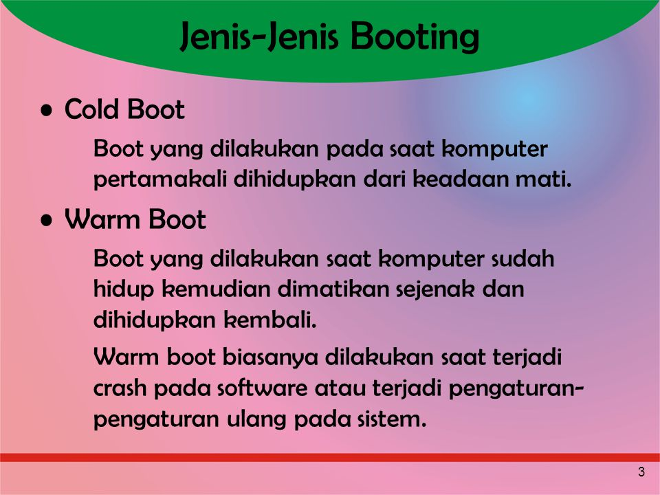 4 Macam-Macam Warm Boot Soft Boot Boot yang dikendalikan melalui sistem (Restart).