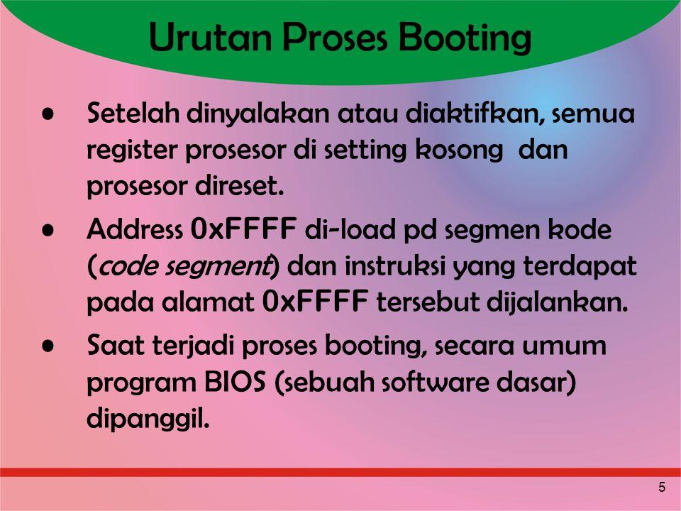 5 Urutan Proses Booting Setelah dinyalakan atau diaktifkan, semua register prosesor di setting kosong dan prosesor direset. Address 0xFFFF di-load pd