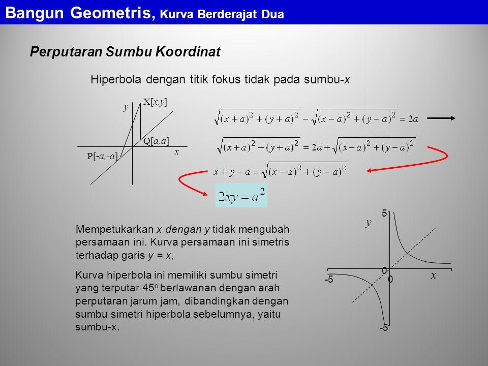 Bangun Geometris, Kurva Berderajat Dua Perputaran Sumbu Koordinat Hiperbola dengan titik fokus tidak pada sumbu-x Mempetukarkan x dengan y tidak mengubah persamaan ini.