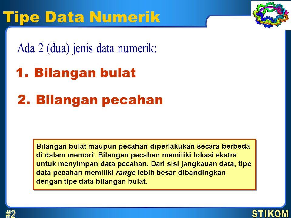 Tipe Data Numerik Bilangan bulat 1. Bilangan pecahan 2. Bilangan bulat maupun pecahan diperlakukan secara berbeda di dalam memori. Bilangan pecahan me