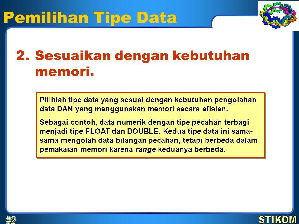 Pemilihan Tipe Data Sesuaikan dengan kebutuhan memori. 2. Pilihlah tipe data yang sesuai dengan kebutuhan pengolahan data DAN yang menggunakan memori