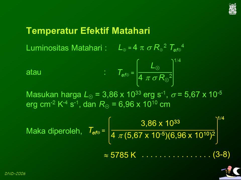 DND-2006 10 Luminositas Matahari : atau : Maka diperoleh,................ (3-8) Temperatur Efektif Matahari T ef  = 4   R24   R2 LL 1414 Ma