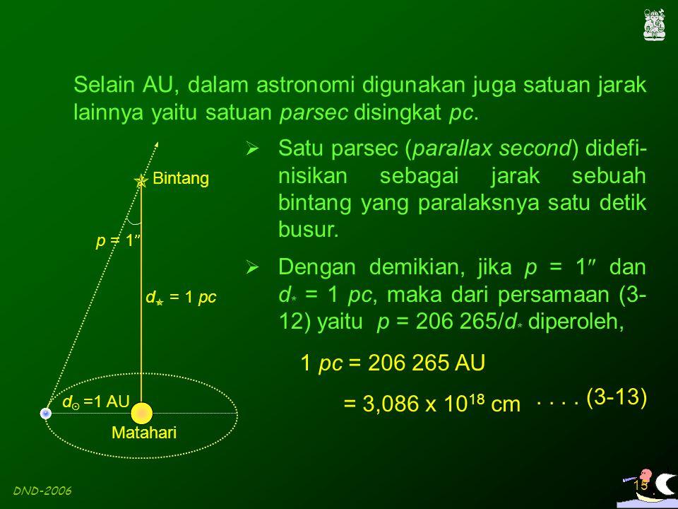 DND-2006 15 Selain AU, dalam astronomi digunakan juga satuan jarak lainnya yaitu satuan parsec disingkat pc.  Satu parsec (parallax second) didefi- n