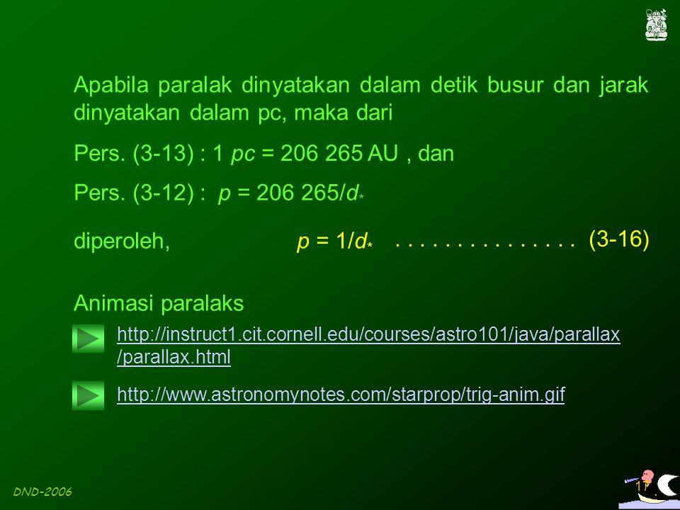DND-2006 17 Apabila paralak dinyatakan dalam detik busur dan jarak dinyatakan dalam pc, maka dari p = 1/d * Pers. (3-12) : p = 206 265/d * Animasi par