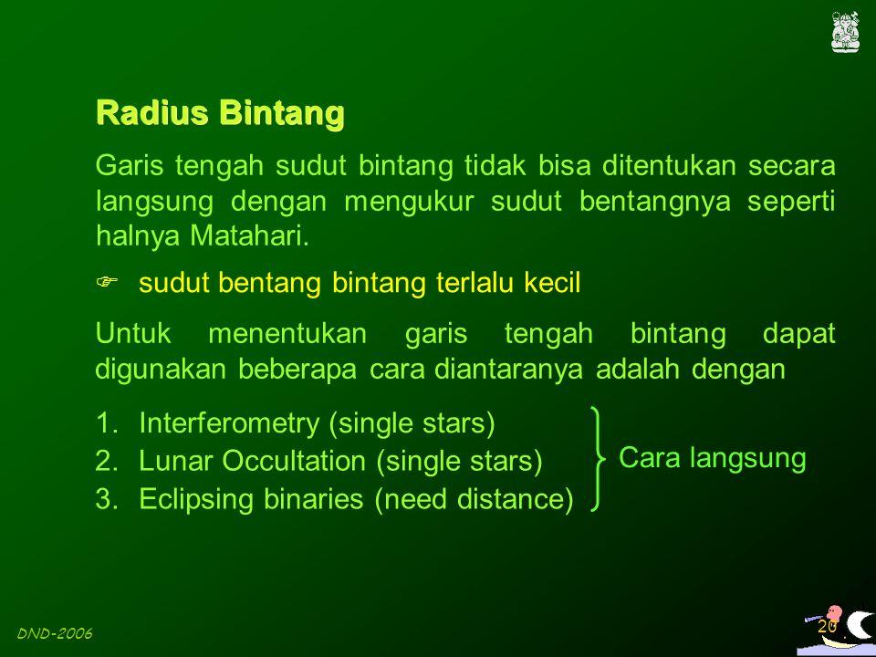 DND-2006 20 3.Eclipsing binaries (need distance) Untuk menentukan garis tengah bintang dapat digunakan beberapa cara diantaranya adalah dengan 1.Inter