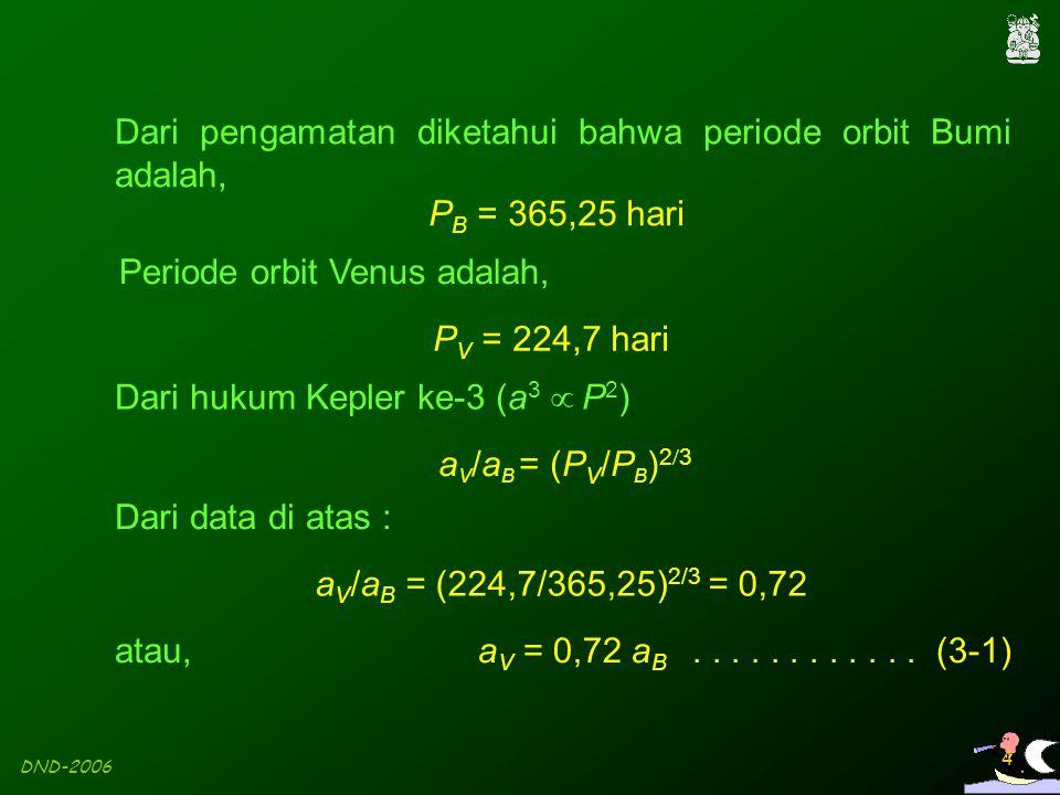 DND-2006 4 Dari pengamatan diketahui bahwa periode orbit Bumi adalah, P B = 365,25 hari Periode orbit Venus adalah, P V = 224,7 hari Dari hukum Kepler