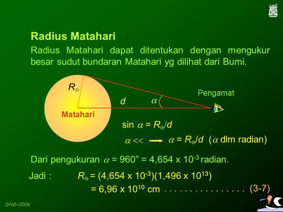 DND-2006 9 Radius Matahari dapat ditentukan dengan mengukur besar sudut bundaran Matahari yg dilihat dari Bumi. RR d  Matahari Pengamat sin  = R 